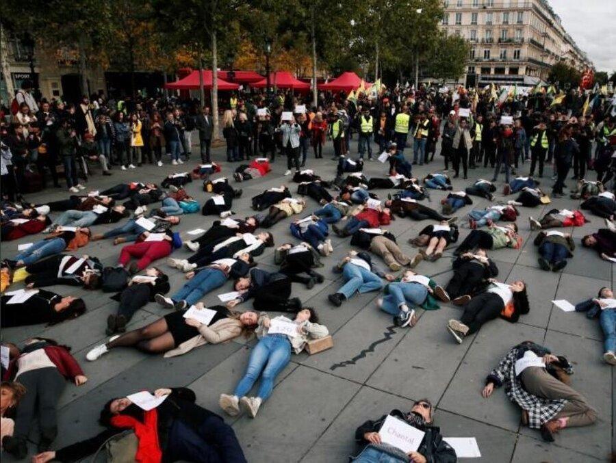 تظاهرات زنان فرانسوی در اعتراض به خشونت خانگی ، عذرخواهی و حمایت مکرون از زنان